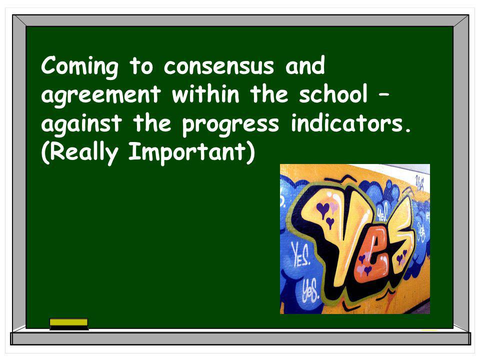 Coming to consensus and agreement within the school – against the progress indicators.