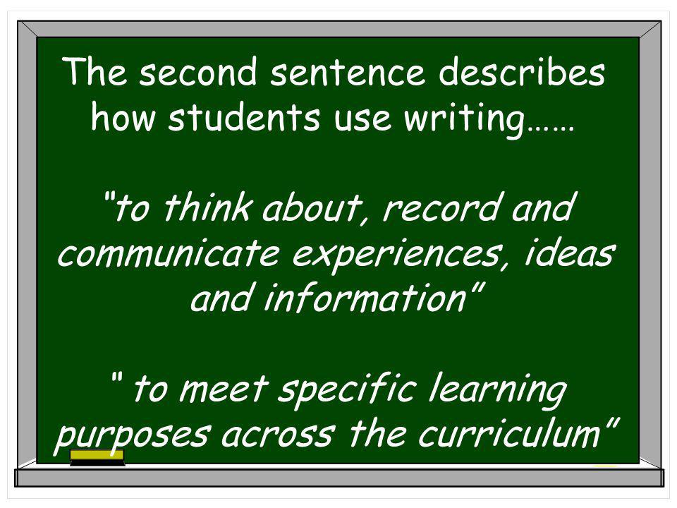The second sentence describes how students use writing…… to think about, record and communicate experiences, ideas and information to meet specific learning purposes across the curriculum