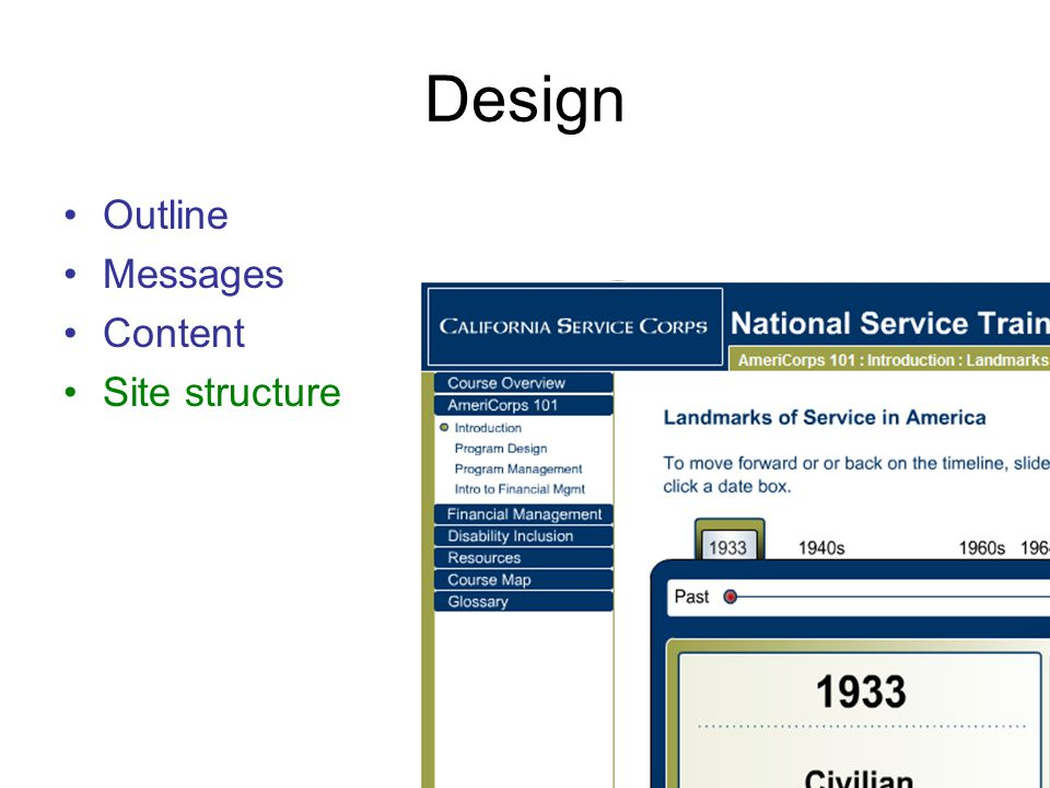 Design Outline Messages Content Site structure