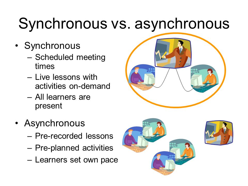 Synchronous vs. asynchronous Asynchronous –Pre-recorded lessons –Pre-planned activities –Learners set own pace Synchronous –Scheduled meeting times –L