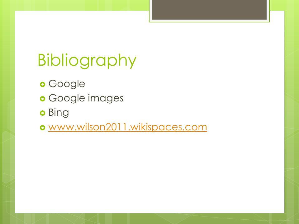 Bibliography  Google  Google images  Bing  www.wilson2011.wikispaces.com www.wilson2011.wikispaces.com
