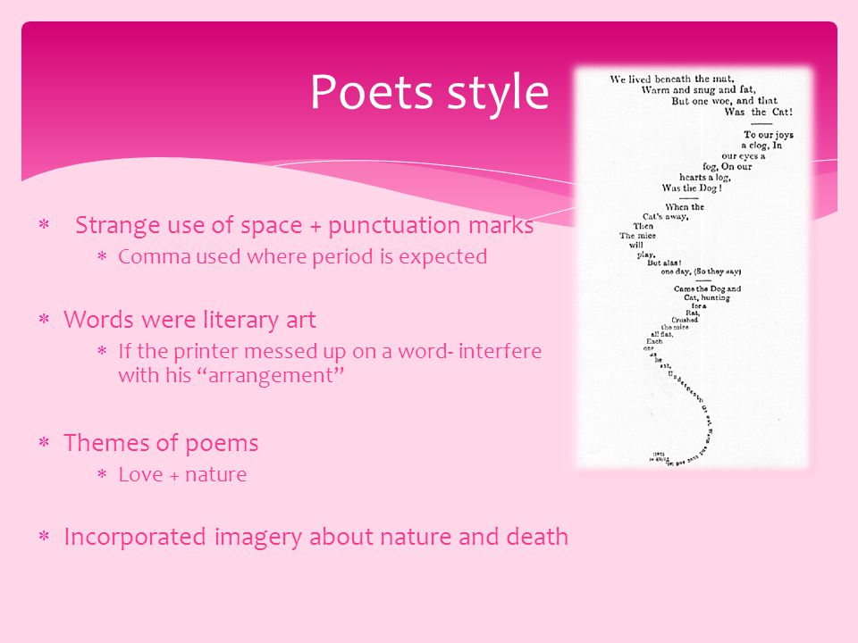  Strange use of space + punctuation marks  Comma used where period is expected  Words were literary art  If the printer messed up on a word- interfere with his arrangement  Themes of poems  Love + nature  Incorporated imagery about nature and death Poets style