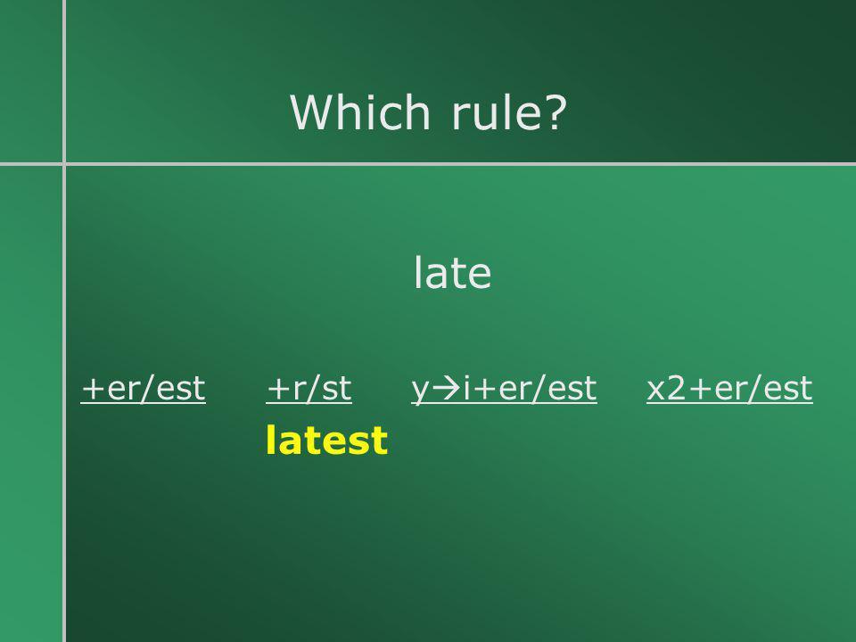 Which rule? late +er/est +r/st y  i+er/est x2+er/est latest