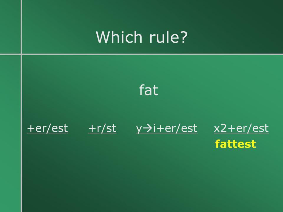 Which rule? fat +er/est +r/st y  i+er/est x2+er/est fattest