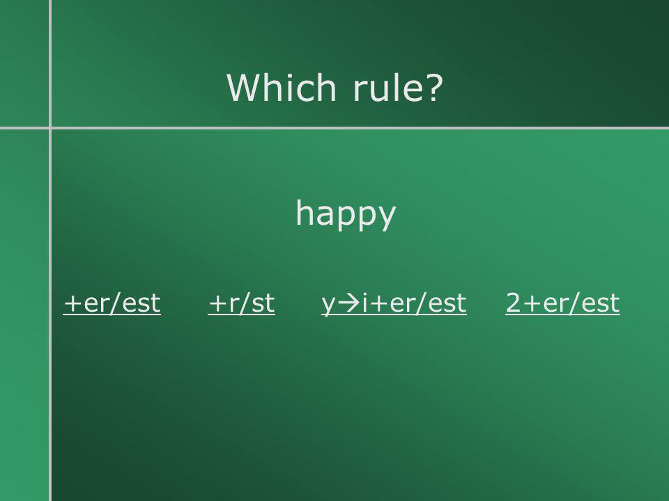 Which rule? happy +er/est +r/st y  i+er/est 2+er/est