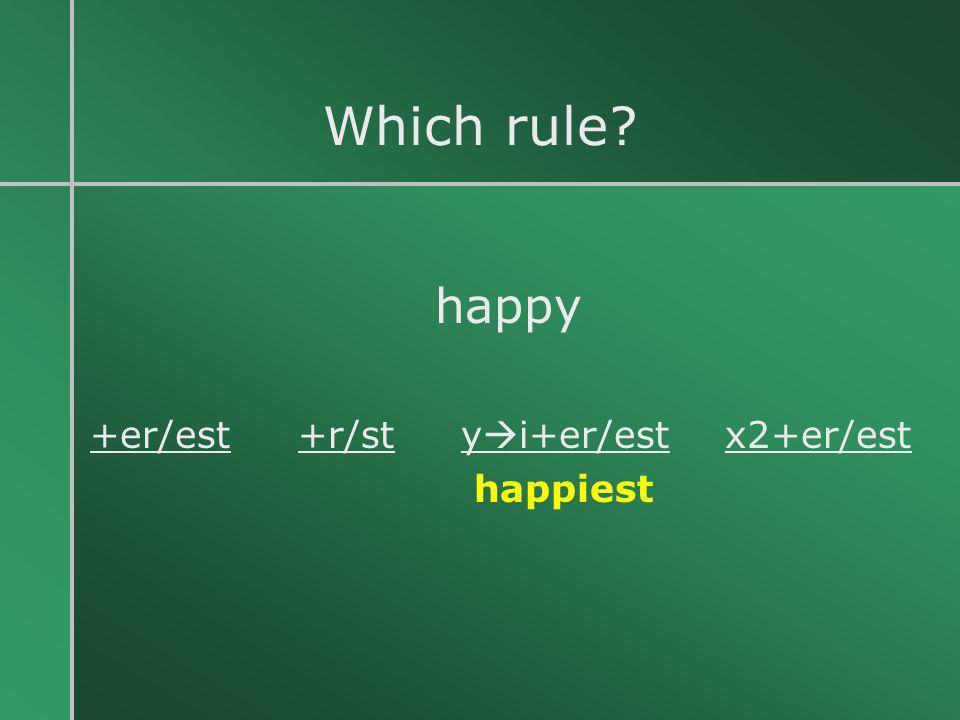 Which rule? happy +er/est +r/st y  i+er/est x2+er/est happiest