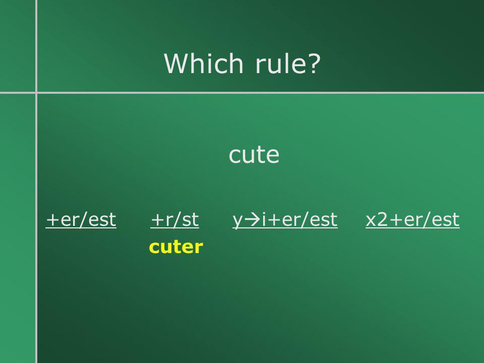 Which rule? cute +er/est +r/st y  i+er/est x2+er/est cuter