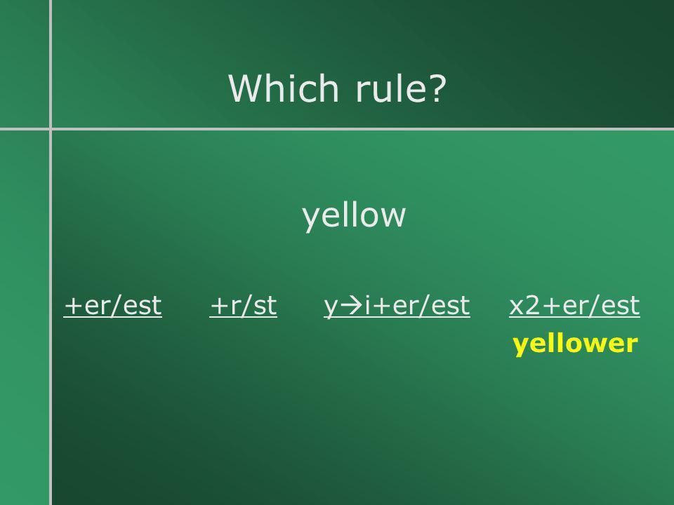 Which rule? yellow +er/est +r/st y  i+er/est x2+er/est yellower