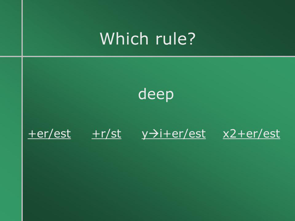 Which rule? deep +er/est +r/st y  i+er/est x2+er/est