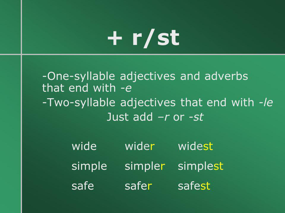 + r/st -One-syllable adjectives and adverbs that end with -e -Two-syllable adjectives that end with -le Just add –r or -st wide wider widest simple si