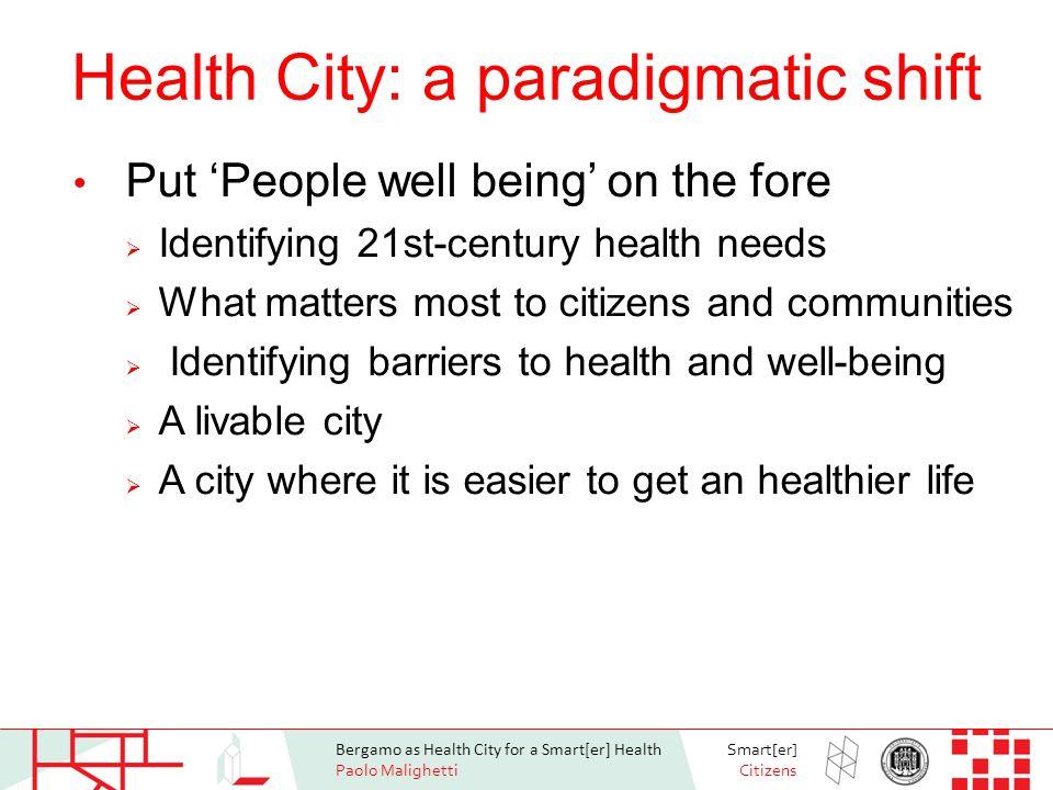 Bergamo as Health City for a Smart[er] Health Paolo Malighetti Smart[er] Citizens A terapeutic city.