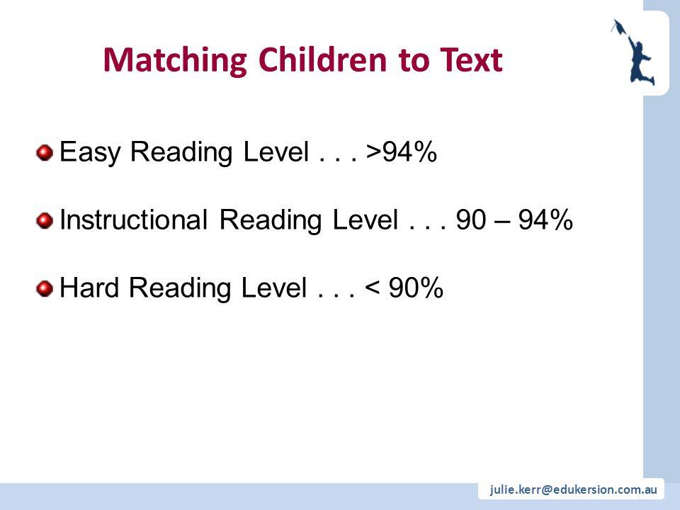 julie.kerr@edukersion.com.au Matching Children to Text Easy Reading Level... >94% Instructional Reading Level... 90 – 94% Hard Reading Level... < 90%
