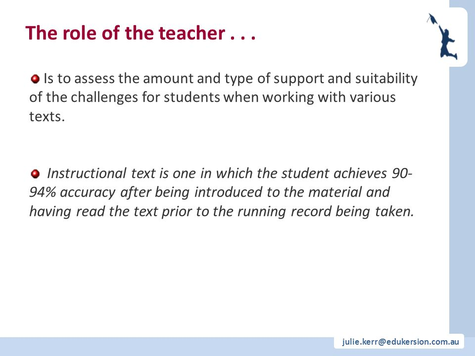 julie.kerr@edukersion.com.au The role of the teacher... Is to assess the amount and type of support and suitability of the challenges for students whe