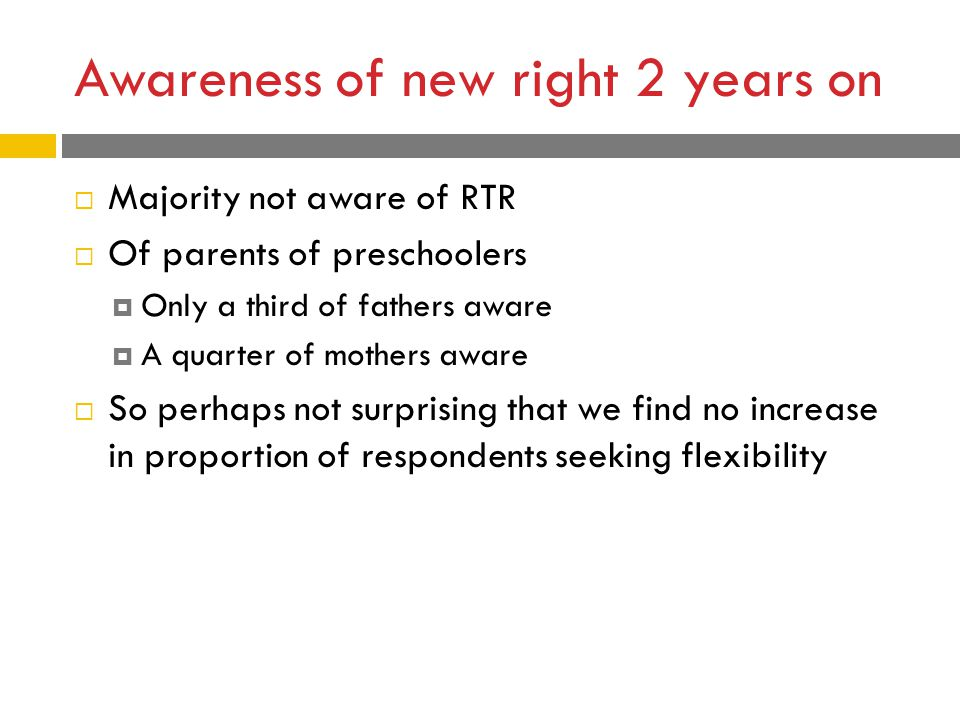 Awareness of new right 2 years on  Majority not aware of RTR  Of parents of preschoolers  Only a third of fathers aware  A quarter of mothers aware  So perhaps not surprising that we find no increase in proportion of respondents seeking flexibility