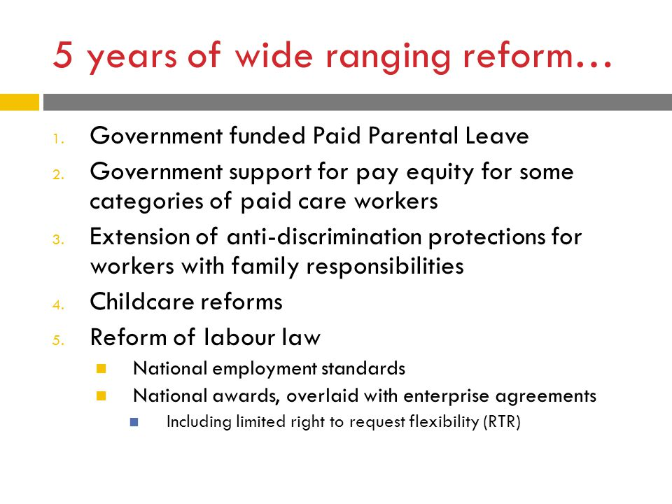 5 years of wide ranging reform… 1.Government funded Paid Parental Leave 2.