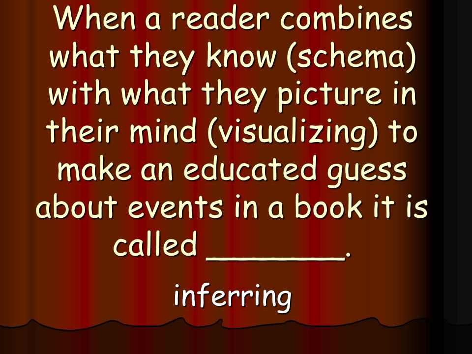 When a reader combines what they know (schema) with what they picture in their mind (visualizing) to make an educated guess about events in a book it is called _______.