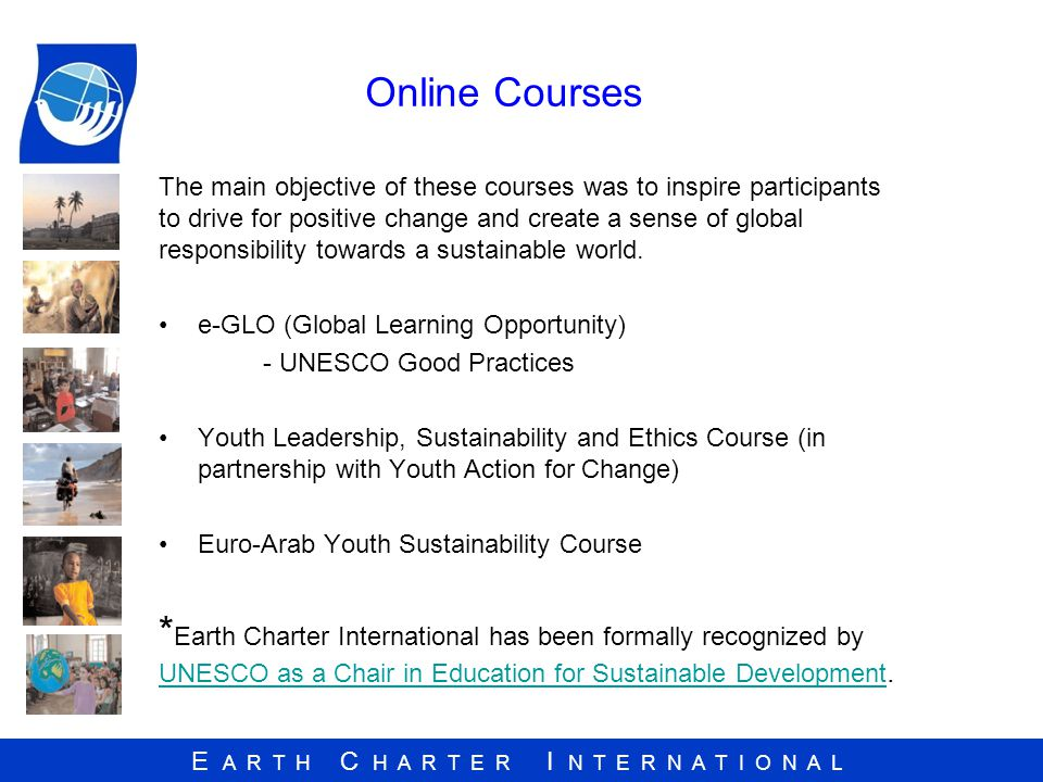 E A R T H C H A R T E R I N T E R N A T I O N A L Online Courses The main objective of these courses was to inspire participants to drive for positive change and create a sense of global responsibility towards a sustainable world.