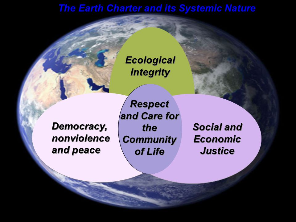 E A R T H C H A R T E R I N T E R N A T I O N A L Ecological Integrity Social and Economic Justice Democracy, nonviolence and peace Democracy, nonviolence and peace Respect and Care for the Community of Life Respect and Care for the Community of Life The Earth Charter and its Systemic Nature