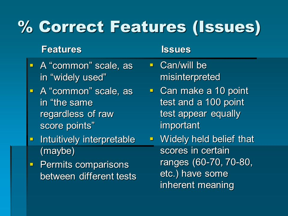 % Correct Features (Issues) Features  A common scale, as in widely used  A common scale, as in the same regardless of raw score points  Intuitively interpretable (maybe)  Permits comparisons between different tests Issues  Can/will be misinterpreted  Can make a 10 point test and a 100 point test appear equally important  Widely held belief that scores in certain ranges (60-70, 70-80, etc.) have some inherent meaning