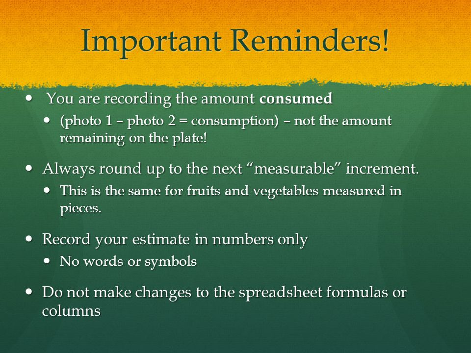 Important Reminders.