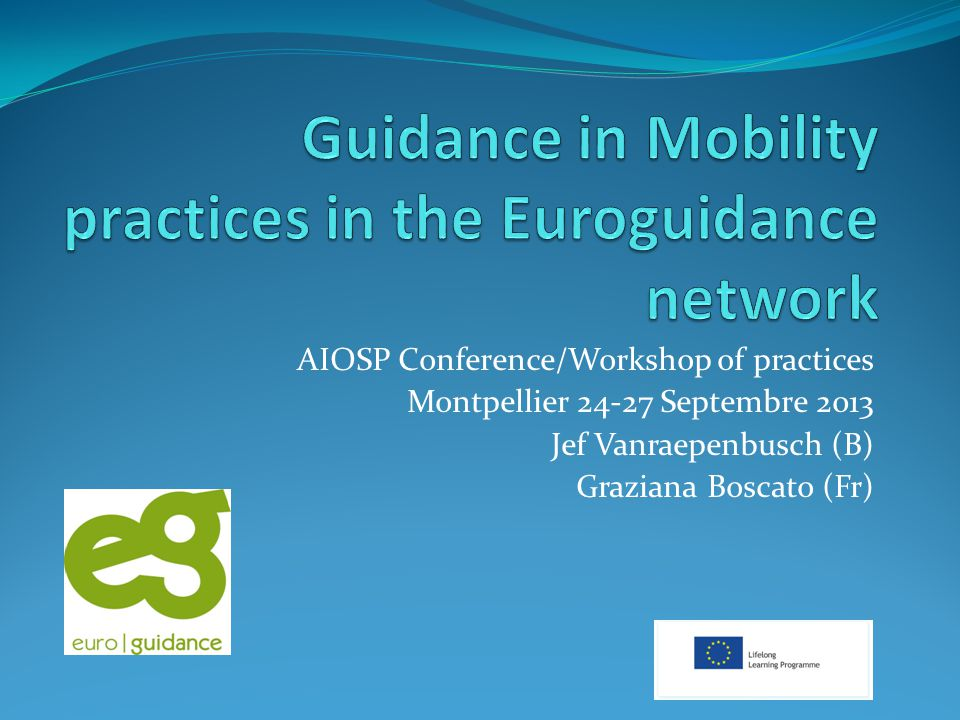 EUROGUIDANCE: An European network for Guidance and Mobility Created by the European Commission in 1992 Objective : Developing the European dimension in guidance activities Public: Guidance professionals in European countries Activities: guidance, information on education- and VET systems in Europe (Publications), Training of guidance professionals