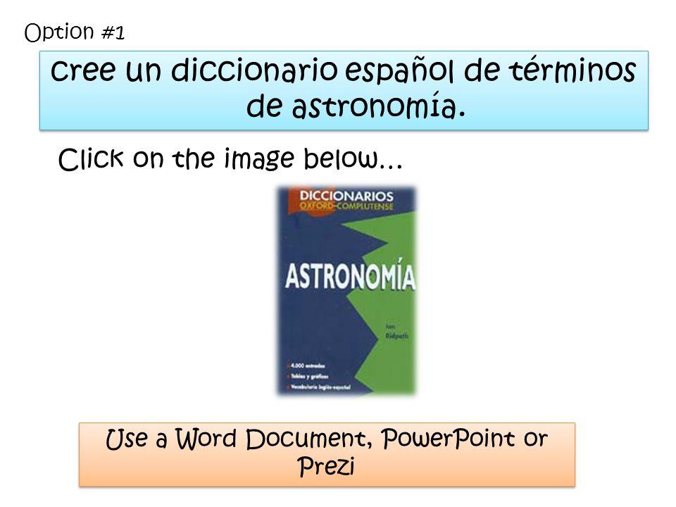 cree un diccionario español de términos de astronomía.