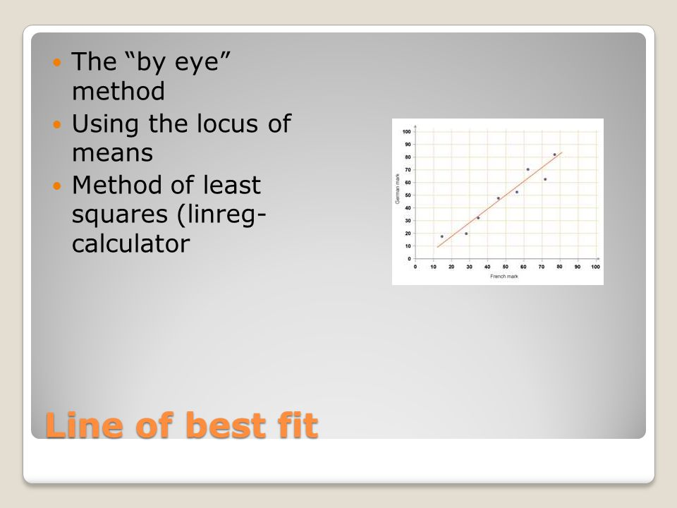 """Line of best fit The """"by eye"""" method Using the locus of means Method of least squares (linreg- calculator"""