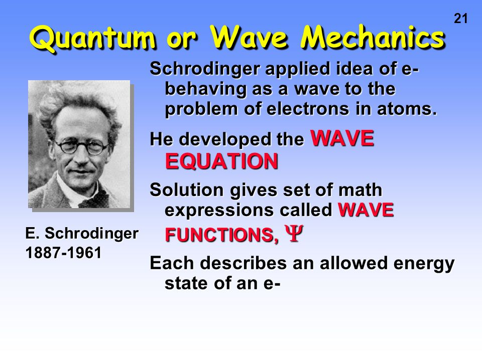 20 Atomic Spectra and Bohr Bohr said classical view is wrong. Need a new theory — now called QUANTUM or WAVE MECHANICS. e- can only exist in certain d