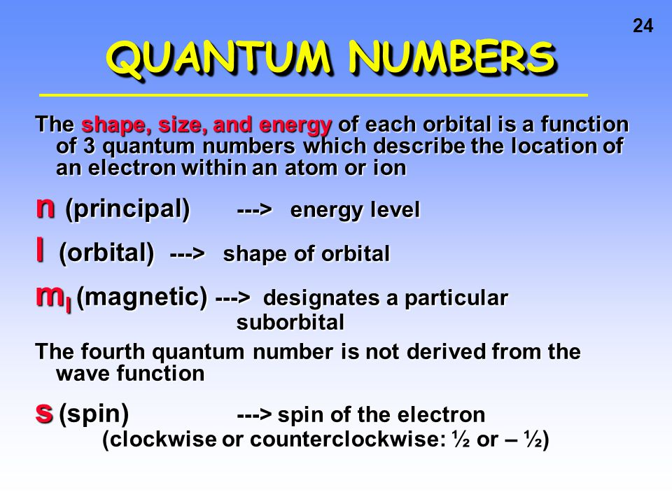 23 Arrangement of Electrons in Atoms Electrons in atoms are arranged as LEVELS (n) SUBLEVELS (l) ORBITALS (m l )