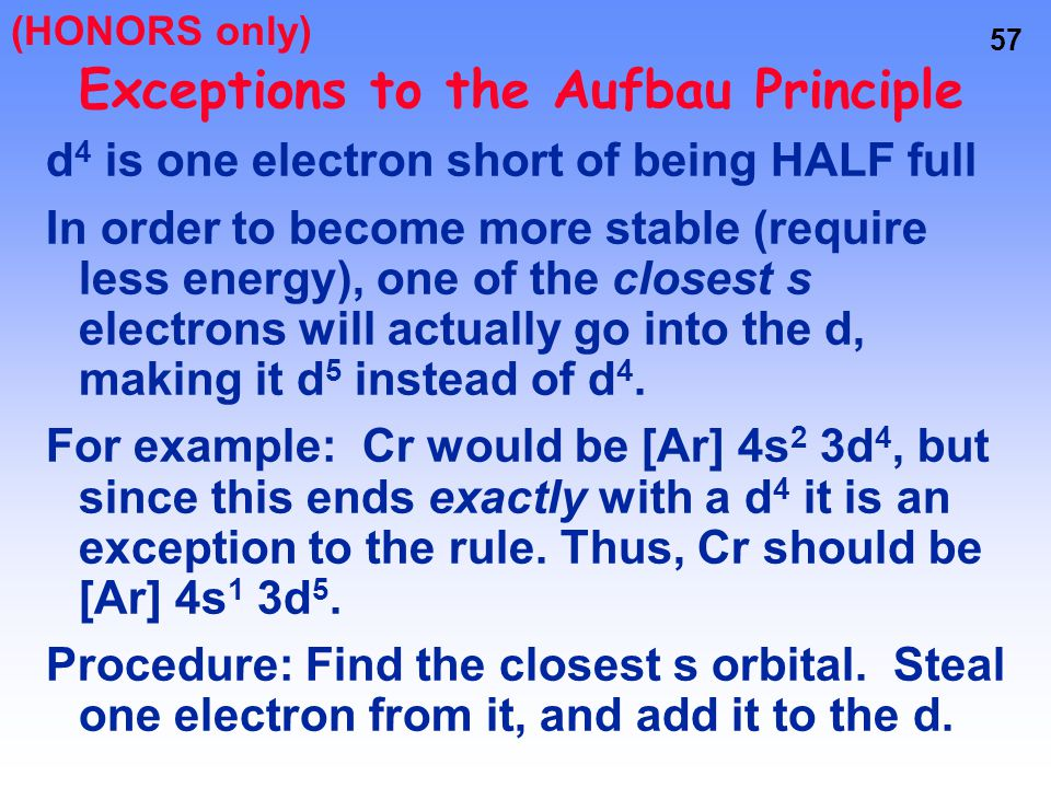 56 Exceptions to the Aufbau Principle Remember d and f orbitals require LARGE amounts of energy If we can't fill these sublevels, then the next best t