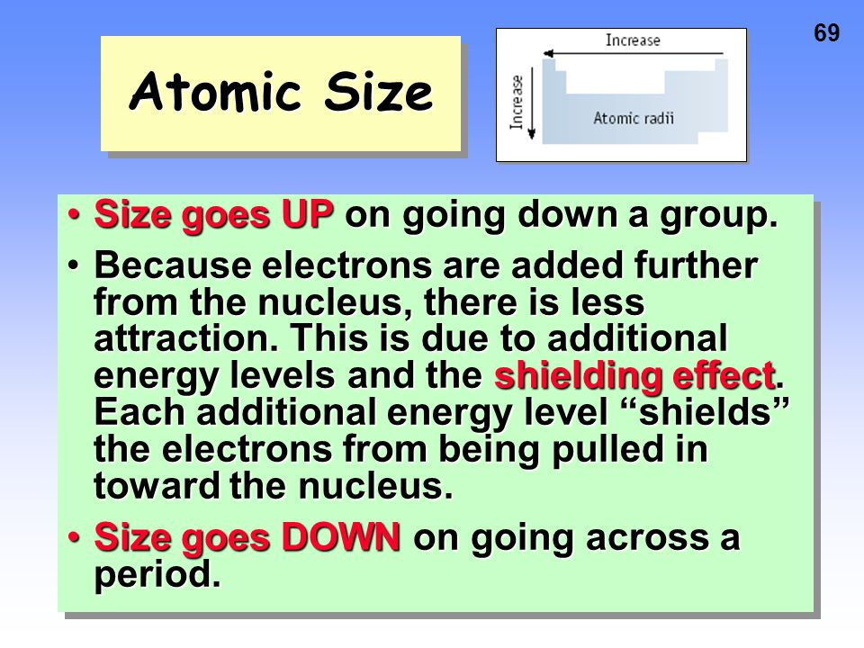 68 General Periodic Trends Atomic and ionic sizeAtomic and ionic size Ionization energyIonization energy ElectronegativityElectronegativity Higher eff