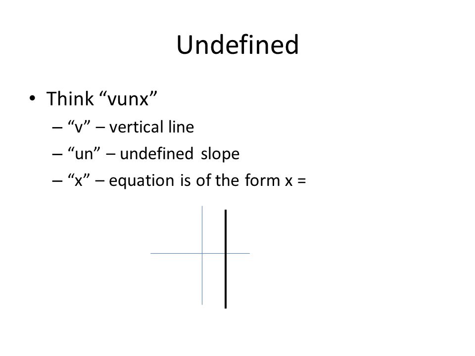 Undefined Think vunx – v – vertical line – un – undefined slope – x – equation is of the form x =