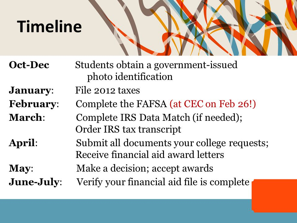 Oct-Dec Students obtain a government-issued photo identification January: File 2012 taxes February: Complete the FAFSA (at CEC on Feb 26!) March: Comp