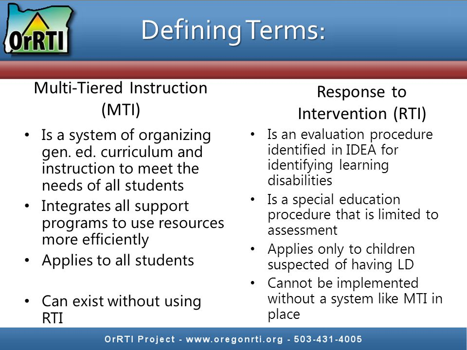 Districts must adopt common procedures for doing this work: Decision Rules Forms SPED Procedures Think of RTI as a standardized test Students should be identified similarly from school to school Policy and Procedure Development (Standardization)