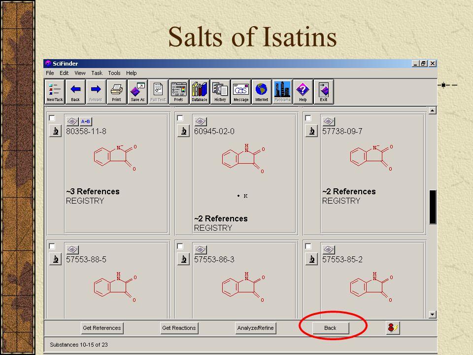 Salts of Isatins