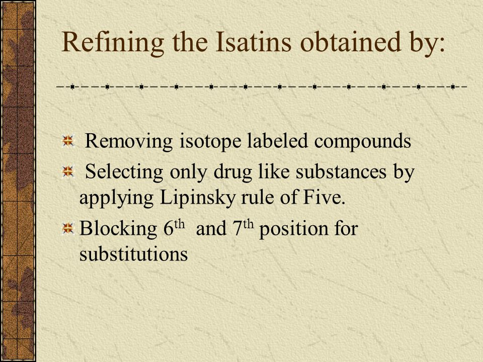 Refining the Isatins obtained by: Removing isotope labeled compounds Selecting only drug like substances by applying Lipinsky rule of Five. Blocking 6