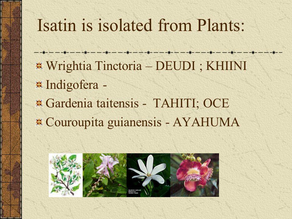 Isatin is isolated from Plants: Wrightia Tinctoria – DEUDI ; KHIINI Indigofera - Gardenia taitensis - TAHITI; OCE Couroupita guianensis - AYAHUMA