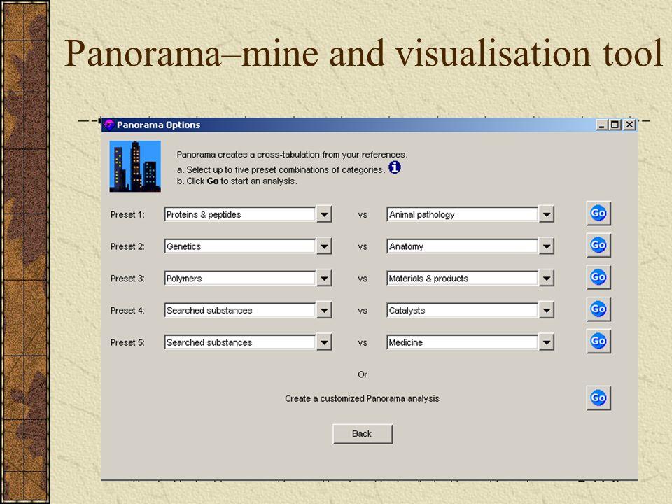 Panorama–mine and visualisation tool