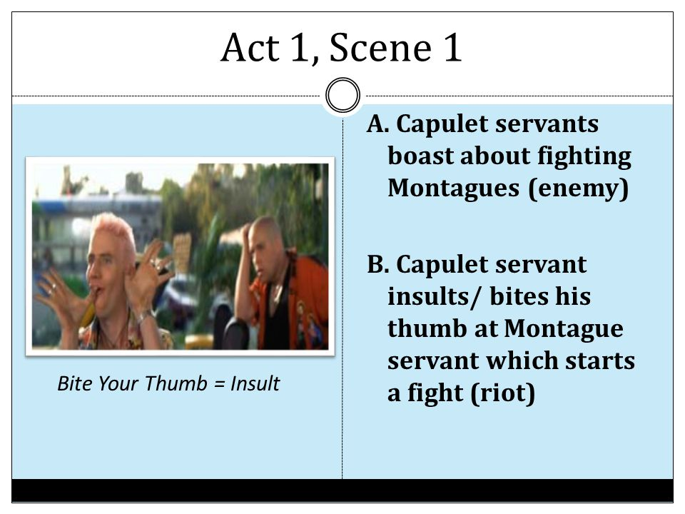 Act 1, Scene 1 A. Capulet servants boast about fighting Montagues (enemy) B. Capulet servant insults/ bites his thumb at Montague servant which starts