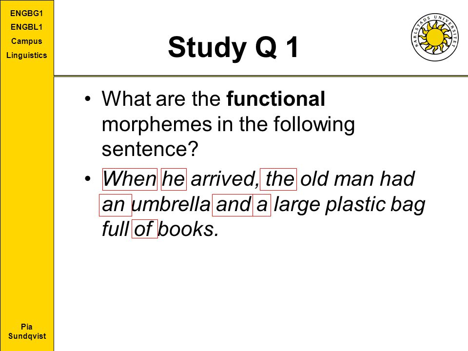 Pia Sundqvist ENGBG1 ENGBL1 Campus Linguistics Study Q 1 What are the functional morphemes in the following sentence? When he arrived, the old man had