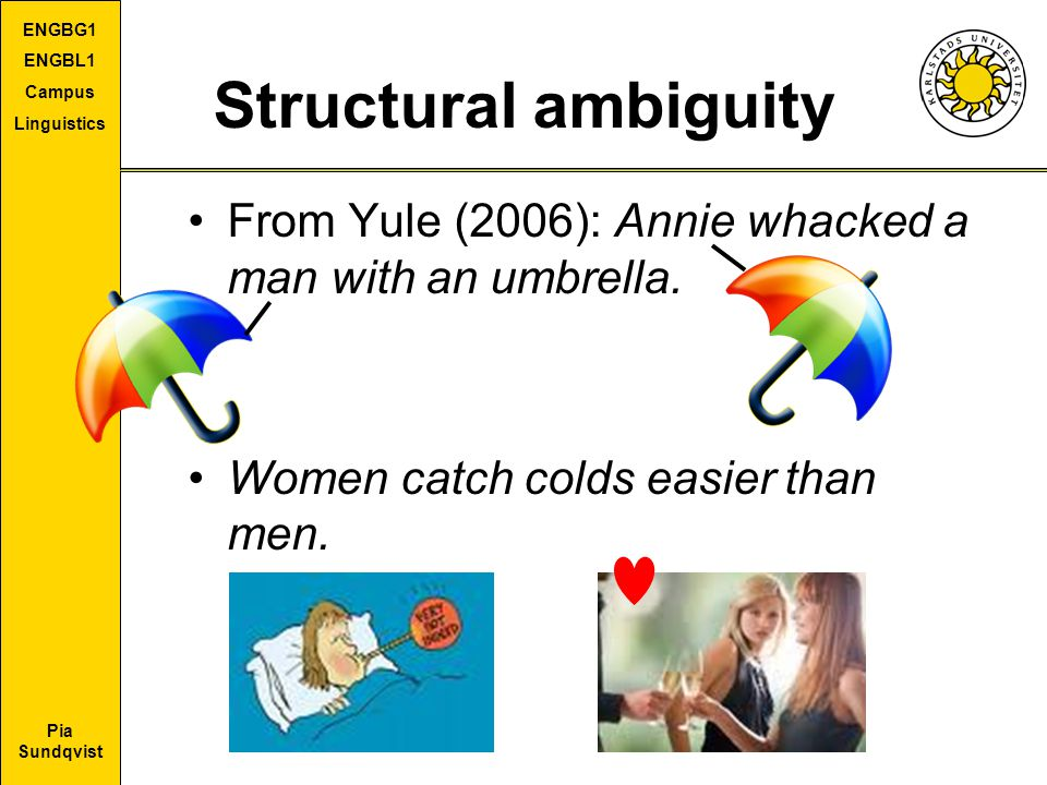 Pia Sundqvist ENGBG1 ENGBL1 Campus Linguistics Structural ambiguity From Yule (2006): Annie whacked a man with an umbrella. Women catch colds easier t