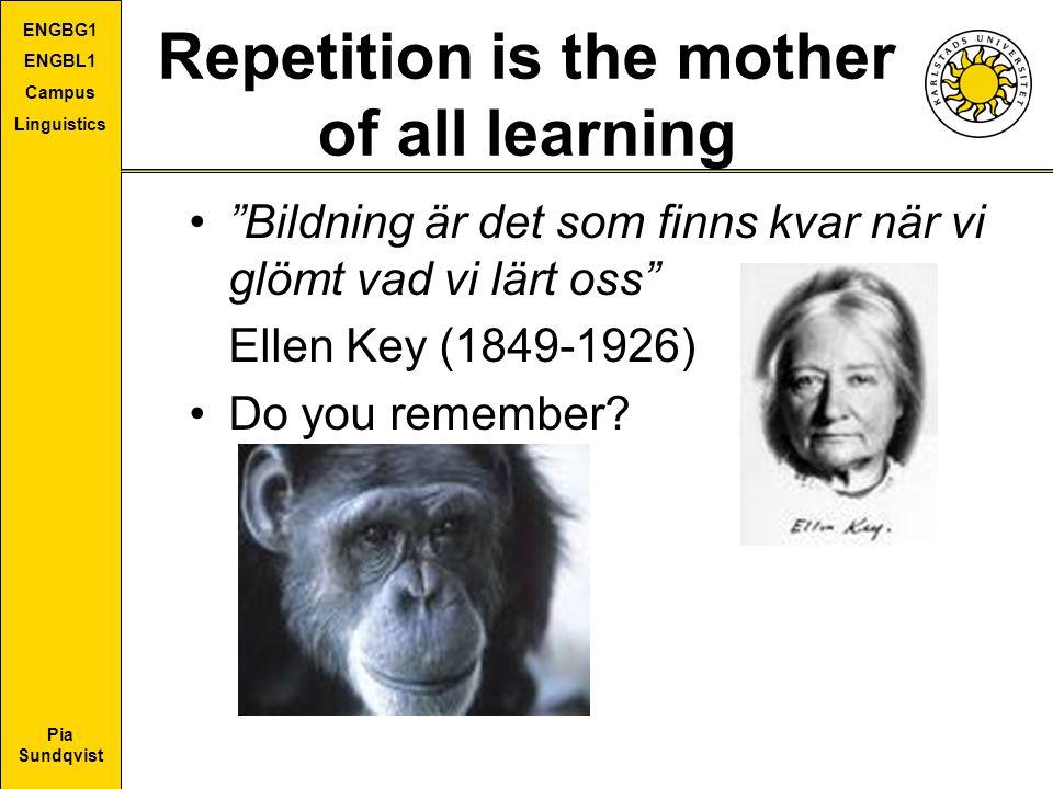 """Pia Sundqvist ENGBG1 ENGBL1 Campus Linguistics Repetition is the mother of all learning """"Bildning är det som finns kvar när vi glömt vad vi lärt oss"""""""