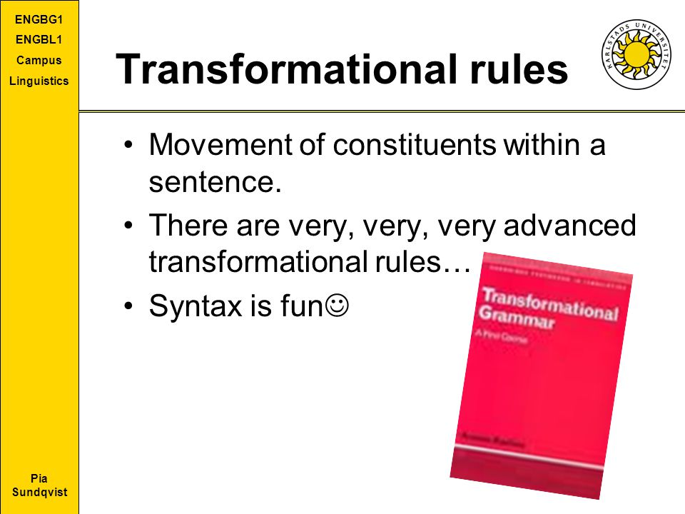 Pia Sundqvist ENGBG1 ENGBL1 Campus Linguistics Transformational rules Movement of constituents within a sentence. There are very, very, very advanced
