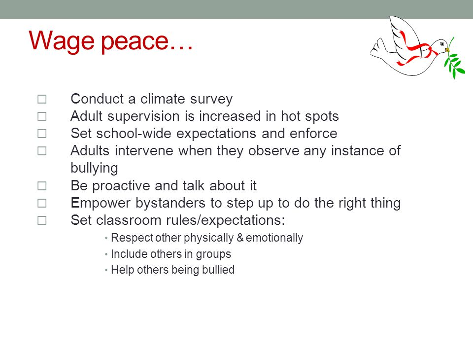 Wage peace…  Conduct a climate survey  Adult supervision is increased in hot spots  Set school-wide expectations and enforce  Adults intervene when they observe any instance of bullying  Be proactive and talk about it  Empower bystanders to step up to do the right thing  Set classroom rules/expectations: Respect other physically & emotionally Include others in groups Help others being bullied