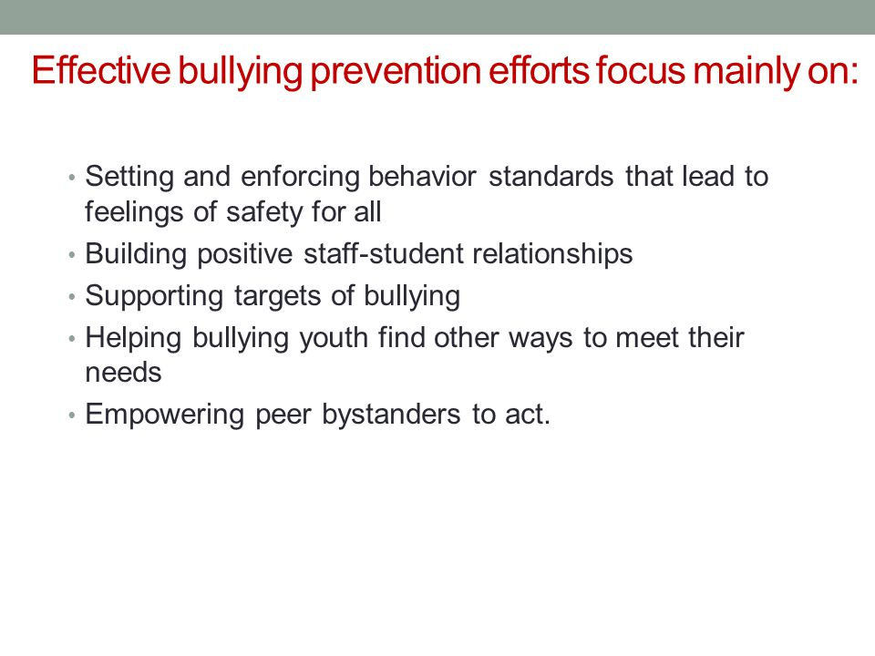 Effective bullying prevention efforts focus mainly on: Setting and enforcing behavior standards that lead to feelings of safety for all Building positive staff-student relationships Supporting targets of bullying Helping bullying youth find other ways to meet their needs Empowering peer bystanders to act.