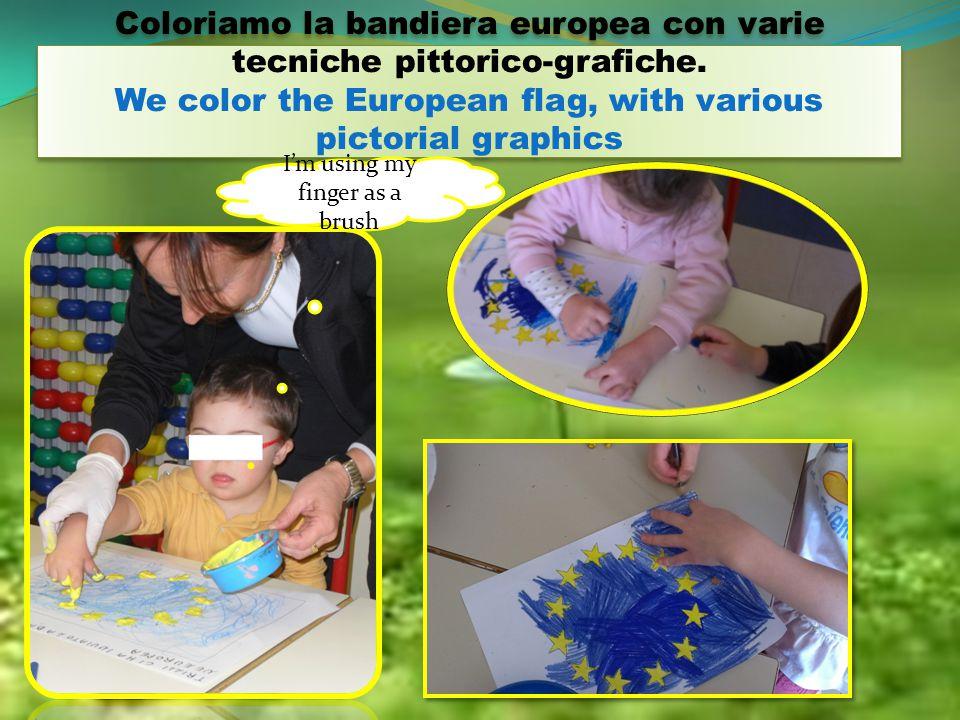Coloriamo la bandiera europea con varie tecniche pittorico-grafiche.