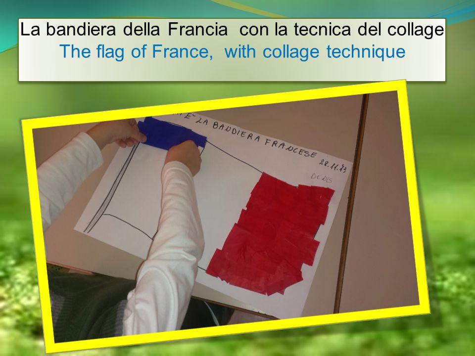 La bandiera della Francia con la tecnica del collage The flag of France, with collage technique