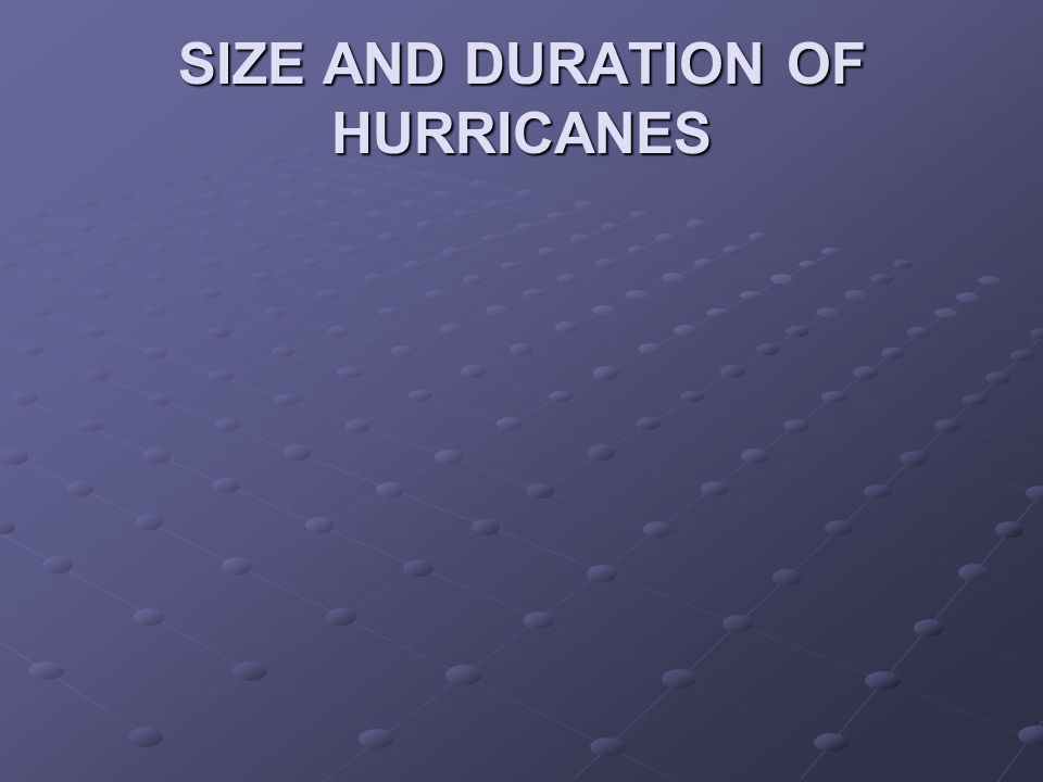 SIZE AND DURATION OF HURRICANES