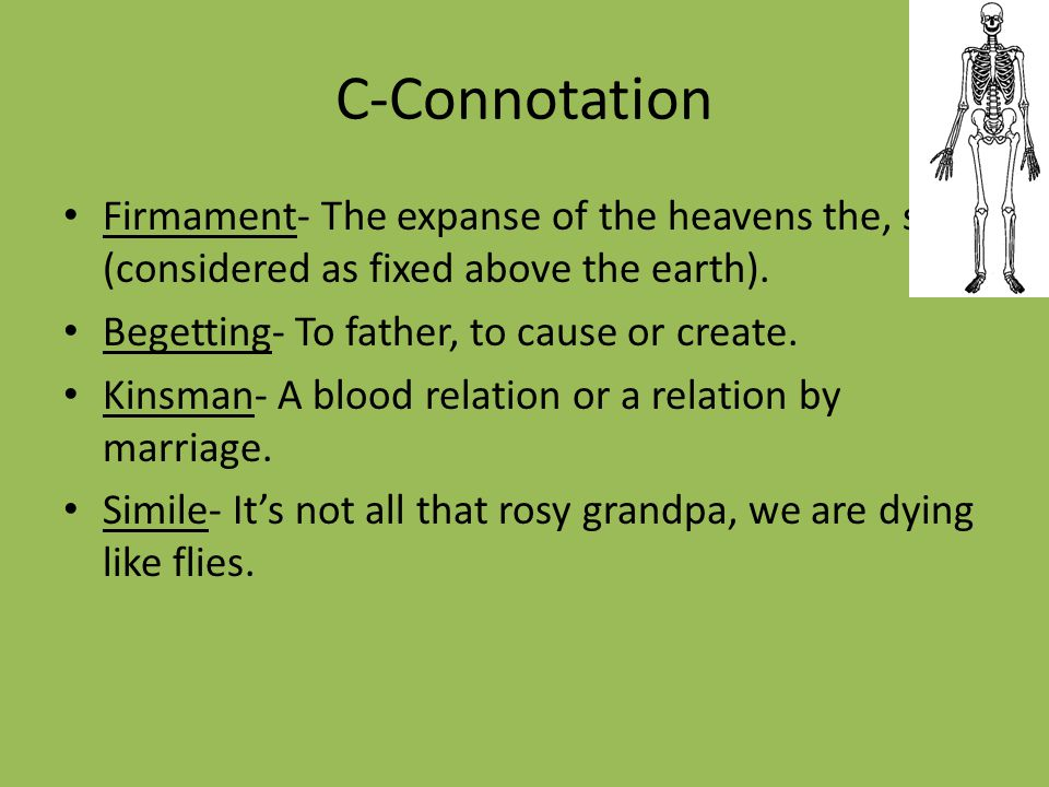 C-Connotation (continued) Personification- Beauty that might have outshone the sun is so swiftly, so completely, and so suddenly disfigured.