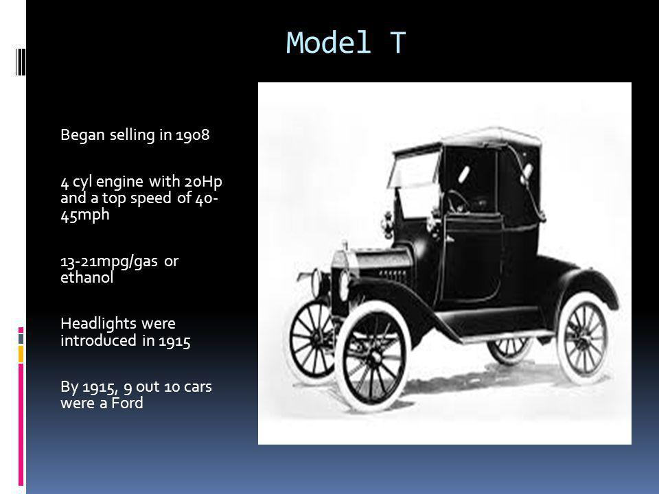 Model T Began selling in cyl engine with 20Hp and a top speed of mph 13-21mpg/gas or ethanol Headlights were introduced in 1915 By 1915, 9 out 10 cars were a Ford